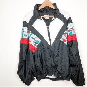 Vintage Abstract Windbreaker Zip Up Size XL